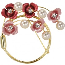 Crescent Crystal Flower Venetian Pearl Brooch Pin - Pink