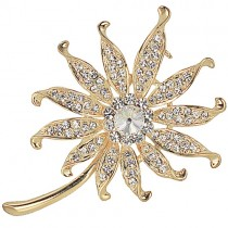 Coneflower Crystal Diamante Brooch Pin