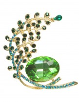 Peacock Tail Emerald Crystal Brooch Pin