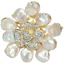 Abstract Cultured Pearl Flower Petal Crystal Pistil Gold-Tone Brooch Pin Pendant