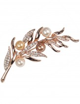 Axillary Pearl Bud Rhinestone Leaf Stem Brooch Pin - Rose Gold