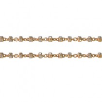 "18k Dual Color White & Rose Gold 1.4mm Beaded Chain 18"" - Dahlia Classic Collection"