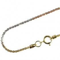 18k Tri-Color White, Yellow & Rose Gold 1.1-1.3mm Wheat-Cut Stardust Chain - Dahlia Classic Collection