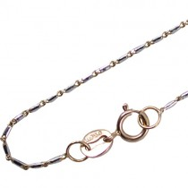 "18k Dual Color White & Rose Gold .8mm Link Chain 18"" - Dahlia Classic Collection"