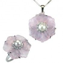 "Rose Quartz Flower White Cultured Pearl Cubic Zirconia Rhodium Plated Sterling Silver Pendant 18"" & Ring Set"