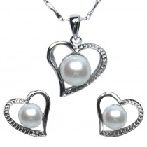 Cursive Heart Shaped Cultured Pearl Rhodium Plated Sterling Silver Pendant Necklace and Stud Earrings Set