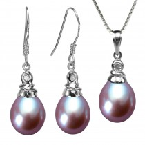 Crystal Top 8-9mm Drop Cultured Pearl Silver Pendant Necklace & Earrings Set, Lavender