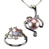 "Entwining Vine Cultured Pearl Cubic Zirconia Rhodium Plated Sterling Silver Pendant Necklace & Ring Set 16"", Lavender"