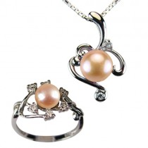 "Entwining Vine Cultured Pearl Cubic Zirconia Rhodium Plated Sterling Silver Pendant Necklace & Ring Set 16"", Peach Pink"