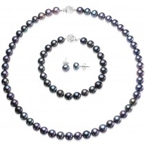 Enhanced Black Cultured Pearl Necklace Strand Silver, Bracelet & Earrings Set