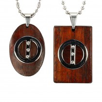 "Circle Line Couples Redwood Stainless Steel Pendant Necklace Set 16""/20-24"""