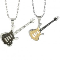 "Black and Gold-Tone Guitar Couples Stainless Steel Pendant Necklace Set 16""/20-24"""
