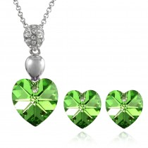 Crystal Heart Swarovski Elements Heart Shaped Crystal Rhodium Plated Pendant Necklace and Stud Earrings Set