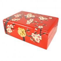 Red Plum Blossom Tree Hand Painted Lacquer Wood Jewelry Box