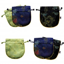 Silky Butterfly Dragon Phoenix Calligraphy Embroidered Brocade Drawstring Jewelry Pouch & Designs