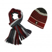 Acrylic Men's Fashion Classic Colorful Stripes Cap Hat Scarf Set