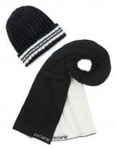 Dahlia Men's Scarf and Beanie Hat Set - Hope Stripe - Black