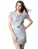 Dahlia Women's Petite Rhinestone Collar Blue Lace Shift Dress