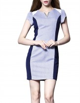 Dahlia Women's Petite Color Blocks Blue Sheath Dress