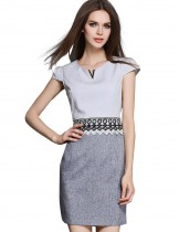 Dahlia Women's Petite Two Tone Lace Waist Gray Sheath Dress