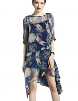 Dahlia Women's Petite Sheer Dragonfly Print Summer Dress