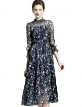 Dahlia Women's Petite 3/4 Sleeve Birds and Flowers Print Navy Blue Dress
