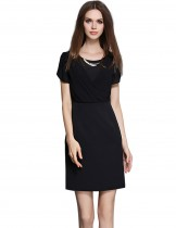 Dahlia Women's Petite Wrap-Like Top Black Sheath Dress