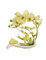 Dahlia Artificial Artificial Phalaenopsis Orchid Flower Arrangement Home Decoration