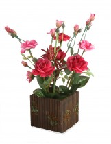 Dahlia Artificial Rose Flower in Wood Pot Decorative Flower Arrangement