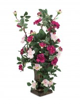 Dahlia Artificial Rose in Small Urn Pot Decorative Flower Arrangement