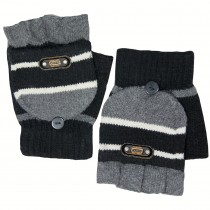 Men's Striped Pop-Top Convertible Knitted Acrylic Fingerless Mitten Gloves