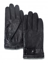 Dahlia Men's Winter Leather Gloves - Wrist Belt - Black
