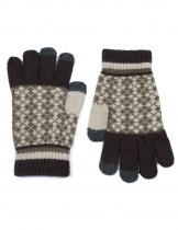 Dahlia Men's Wool Blend Touchscreen Knit Gloves - Argyle Pattern