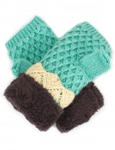 Dahlia Knitted Fingerless Hand Warmer Mittens - Velour Lining