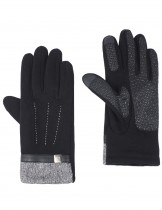 Dahlia Men's Lined Touchscreen Gloves - Gray Heather Belt Cuff Black Gloves