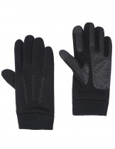Dahlia Men's Lined Touchscreen Gloves - Solid Black Zigzag Stitch Gloves