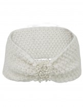 Dahlia Women's Knitted Wide Bow Headband - Faux Pearl Center