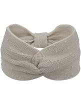 Dahlia Women's Knitted Wide Twist Bow Headband - Faux Pearl Studded