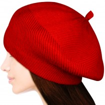 Women's Fluffy Twisted Classic Beret Acrylic Rabbit Hair Knit Beanie Hat