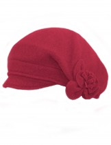 Dahlia Women's Reversible Wool Beret Hat - Flower Accented