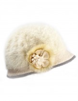 Dahlia Women's Angora Bucket Hat - Flower Accent