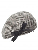 Dahlia Women's Wool Blend Beret - Bow Decorated Painter Plaid