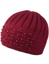 Dahlia Women's Angora Blend Beanie Hat - Dual Layer Pearl Accent Edge