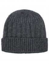 Dahlia Men's Wool Blend Beanie Hat - Velour Lined Striped Stitch