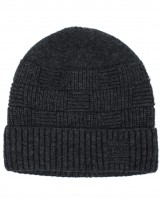 Dahlia Men's Wool Blend Beanie Hat - Velour Lined Basketweave
