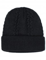 Dahlia Men's Cable Angora Blend Beanie Hat - Warm Velour Lined
