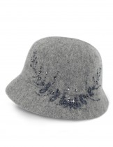 Dahlia Women's Wool Blend Hand Beaded Winter Bucket Hat/ Cloche Hat
