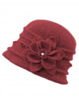 Dahlia Women's 100% Wool Vintage Ruffle Flower Bucket Hat/ Cloche Hat