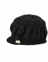 Dahlia Women's Angora Blend Dangling Pearl Dual Layer Newsboy Winter Hat