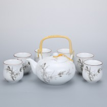 Dahlia Porcelain Painting Tea Set (Teapot w. Strainer + 6 Dual Layer Tea Cups) in Gift Box
